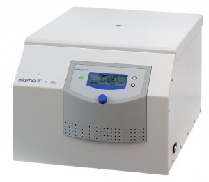 Large volume high through-put lab centrifuge